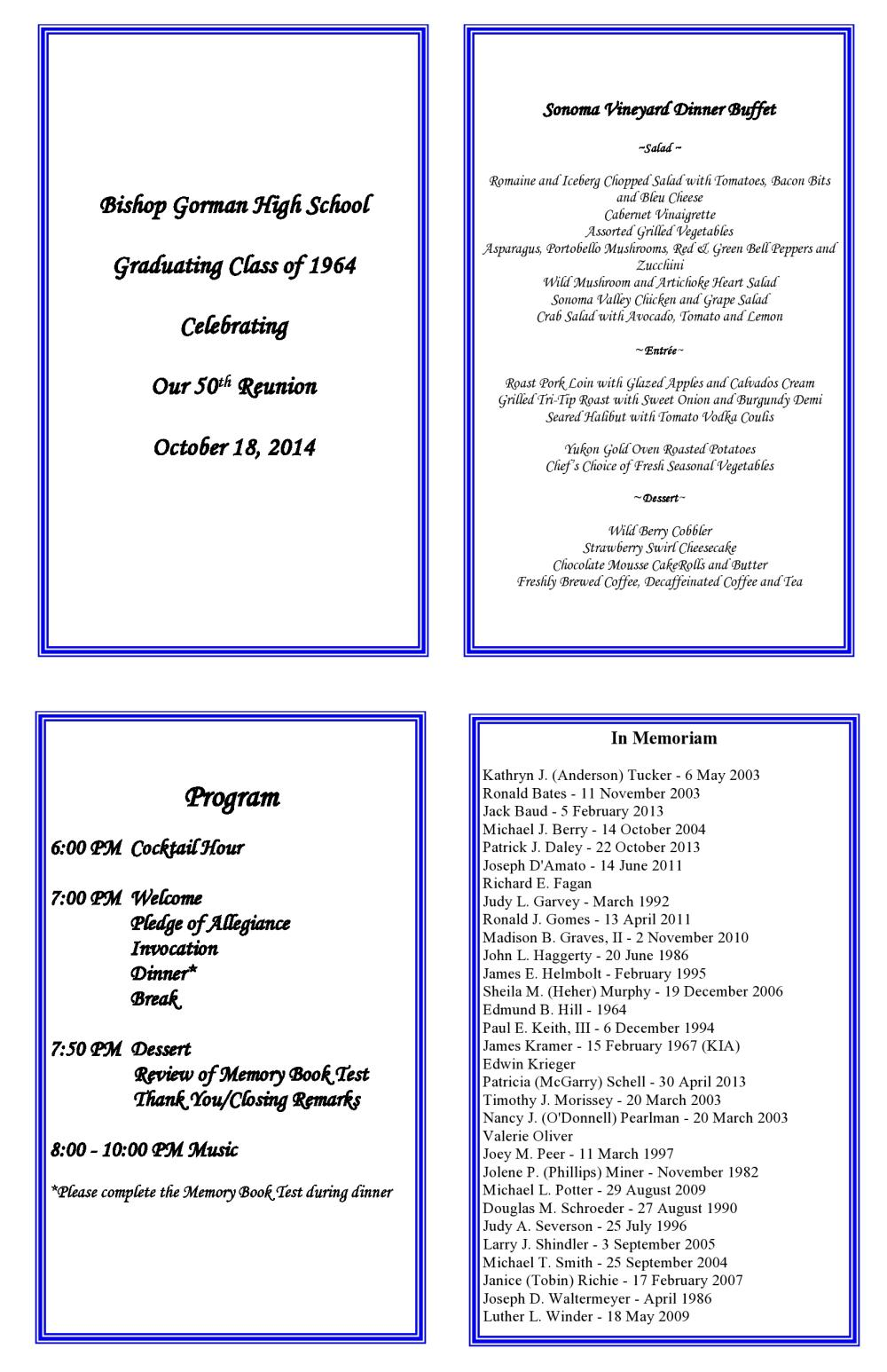 BGHS 64 - 50th Reunion Information